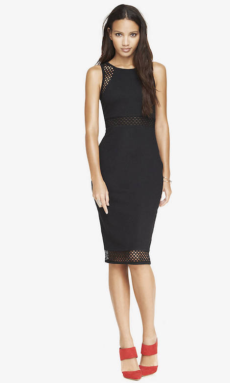 EXPLODED MESH INSET MIDI DRESS