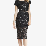 LACE SEQUIN MIDI PENCIL SKIRT