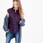 leopard cobalt blouse