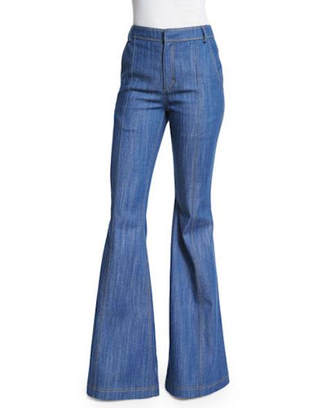 Derek Lam 10 Crosby High-Waist Flare Jeans, Pale Indigo
