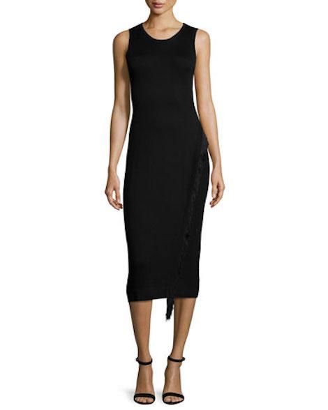 Derek Lam 10 Crosby Sleeveless Fringe-Detail Midi Dress, Black
